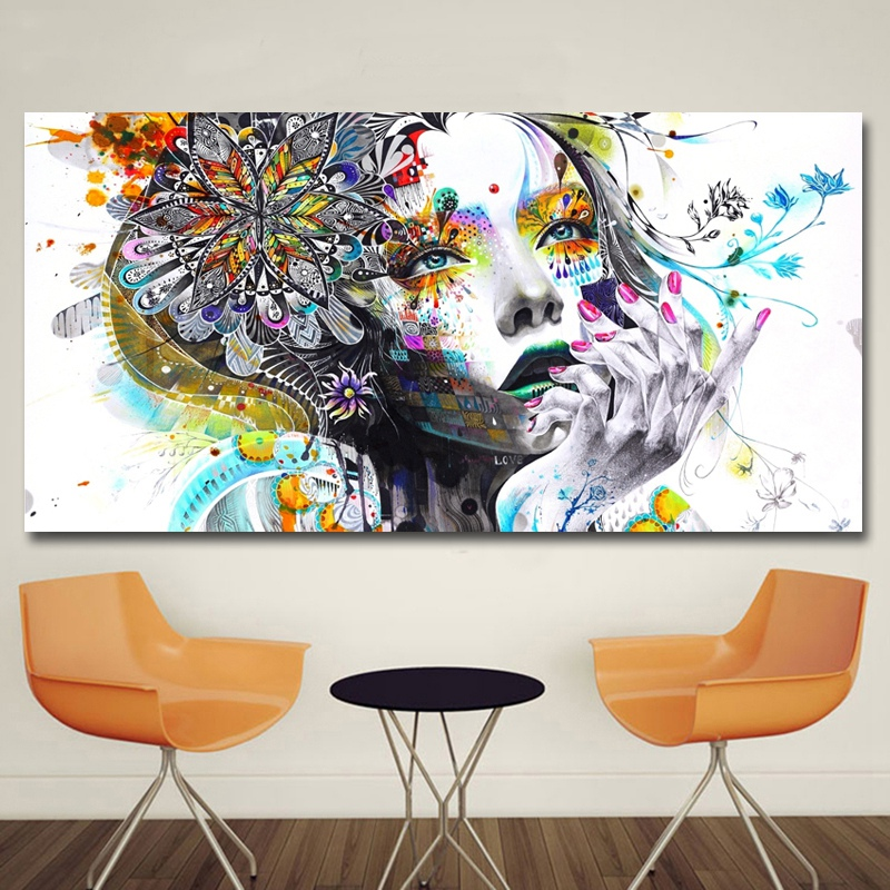 Modern-Canvas-Prints-Colorful-Mosaic-Painting-Anime-Women-Art-Girl-Face-wit-S6A5 thumbnail 3