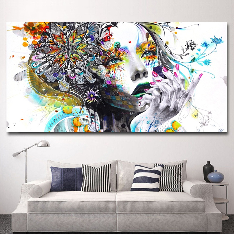 Modern-Canvas-Prints-Colorful-Mosaic-Painting-Anime-Women-Art-Girl-Face-wit-S6A5 thumbnail 4