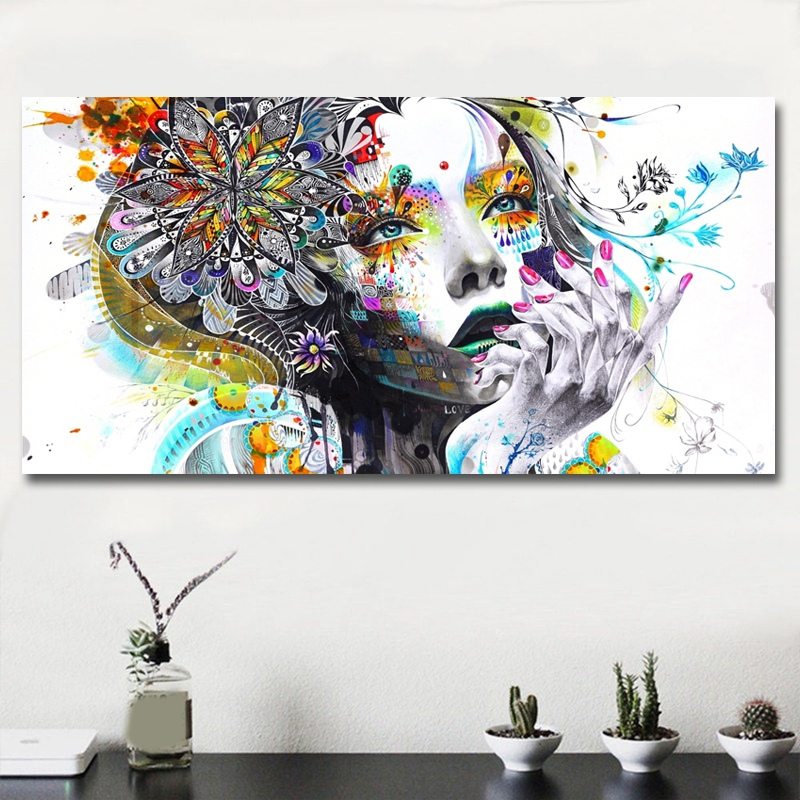 Modern-Canvas-Prints-Colorful-Mosaic-Painting-Anime-Women-Art-Girl-Face-wit-S6A5 thumbnail 5