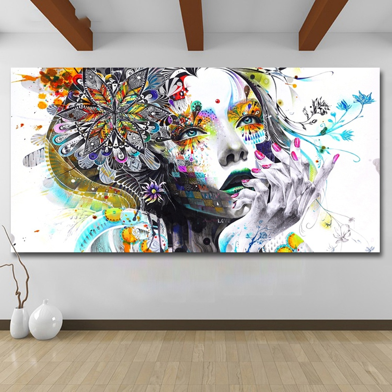 Modern-Canvas-Prints-Colorful-Mosaic-Painting-Anime-Women-Art-Girl-Face-wit-S6A5 thumbnail 6
