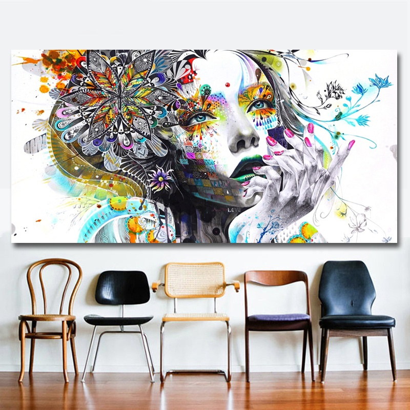 Modern-Canvas-Prints-Colorful-Mosaic-Painting-Anime-Women-Art-Girl-Face-wit-S6A5 thumbnail 7