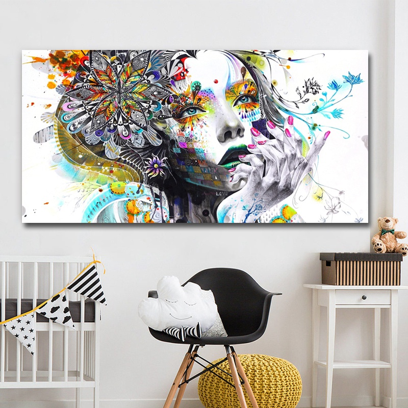 Modern-Canvas-Prints-Colorful-Mosaic-Painting-Anime-Women-Art-Girl-Face-wit-S6A5 thumbnail 8