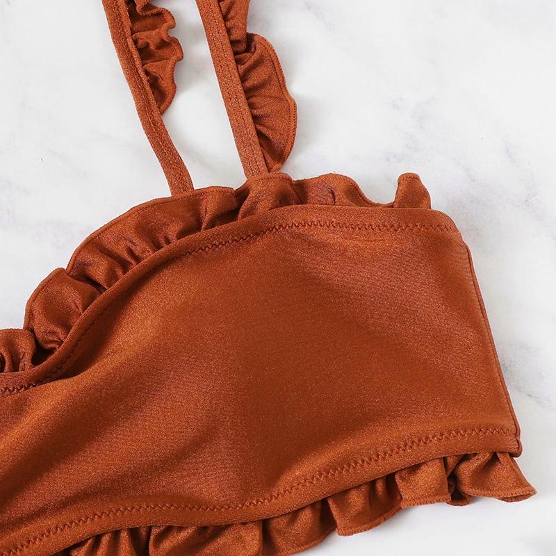 miniature 5 - Haut à Volants avec Bikini à Bretelles Réglables Maillot de Bain Femmes Été D8H7