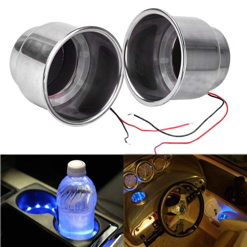 2-Unids-Led-Light-Drink-Holder-14-Led-Empotrado-Taza-de-Acero-Inoxidable-Dr-T9S2 miniatura 3