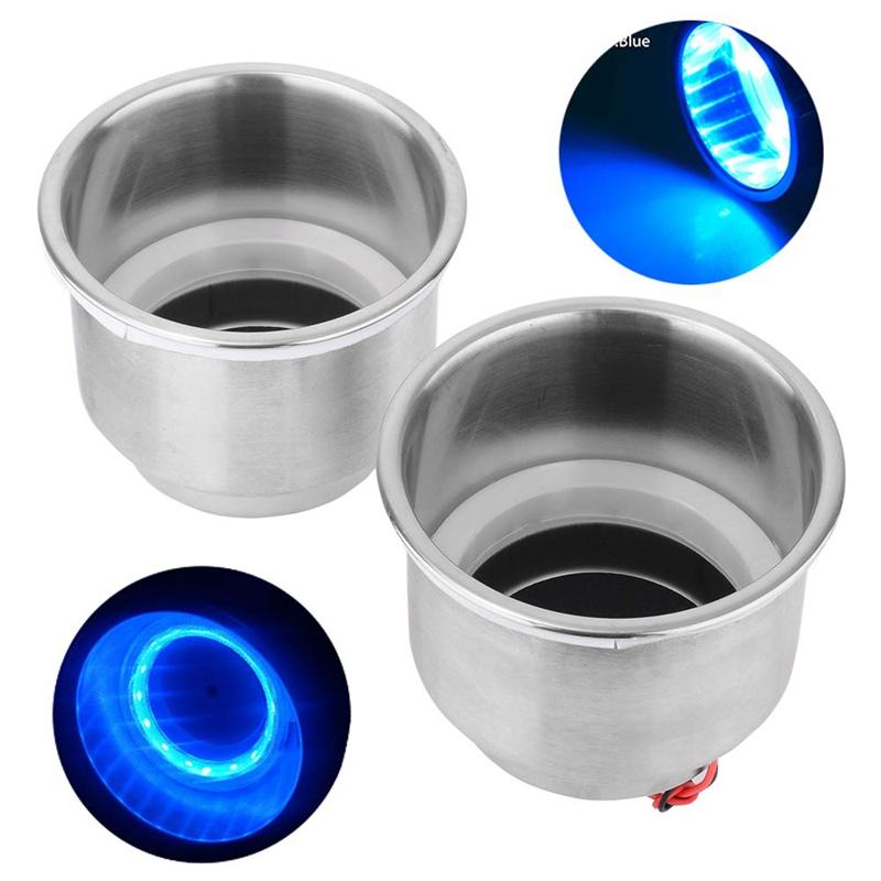 2-Unids-Led-Light-Drink-Holder-14-Led-Empotrado-Taza-de-Acero-Inoxidable-Dr-T9S2 miniatura 4