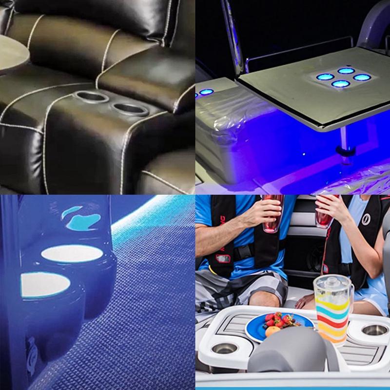 Led-Licht-Getraenke-Halter-Blau-8-Led-Einbau-Edelstahl-Tasse-Getraenke-Halt-P2A1 Indexbild 7
