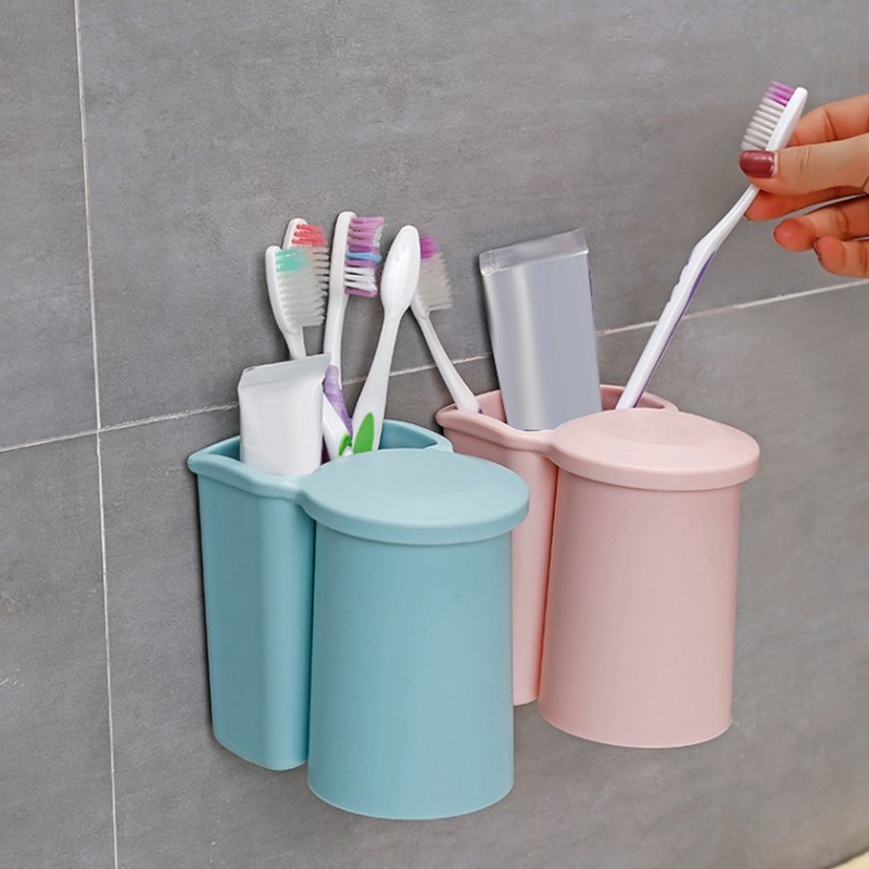 Support-de-Brosse-a-Dents-avec-Ventouse-Et-Support-de-Rangement-Suspendu-J6F8 miniature 6