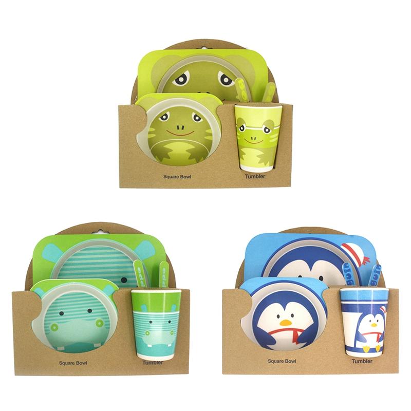 5 pezzi ciotola Set di stoviglie per bambini tazza posate 3 colori a scelta con piatto