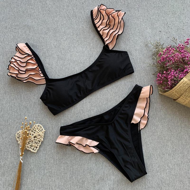 miniature 3 - Push Up Maillot de Bain Femme une Volants Bikinis Ensemble une Lacets Maill J2P7