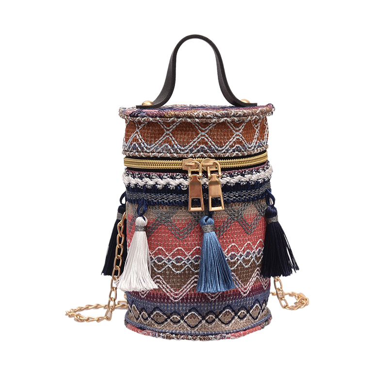 Bucket Bag Messenger Bag Ladies Fringed National Wind