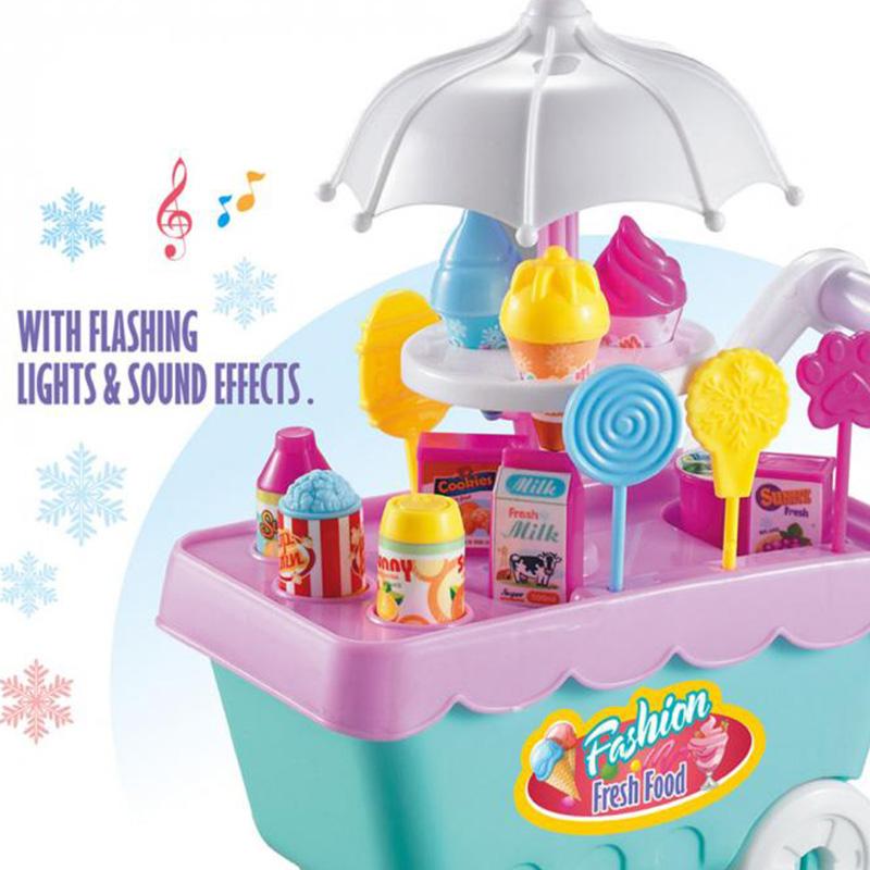 19Pcs-Set-Ice-Cream-Trolley-Cart-Plastic-Pretend-Play-Food-Dessert-Toy-for-X9S7 thumbnail 4