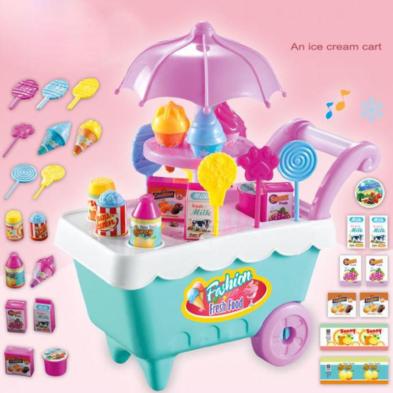 19Pcs-Set-Ice-Cream-Trolley-Cart-Plastic-Pretend-Play-Food-Dessert-Toy-for-X9S7 thumbnail 5