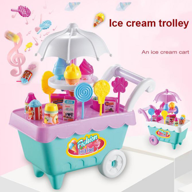 19Pcs-Set-Ice-Cream-Trolley-Cart-Plastic-Pretend-Play-Food-Dessert-Toy-for-X9S7 thumbnail 6