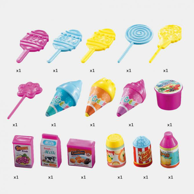 19Pcs-Set-Ice-Cream-Trolley-Cart-Plastic-Pretend-Play-Food-Dessert-Toy-for-X9S7 thumbnail 7