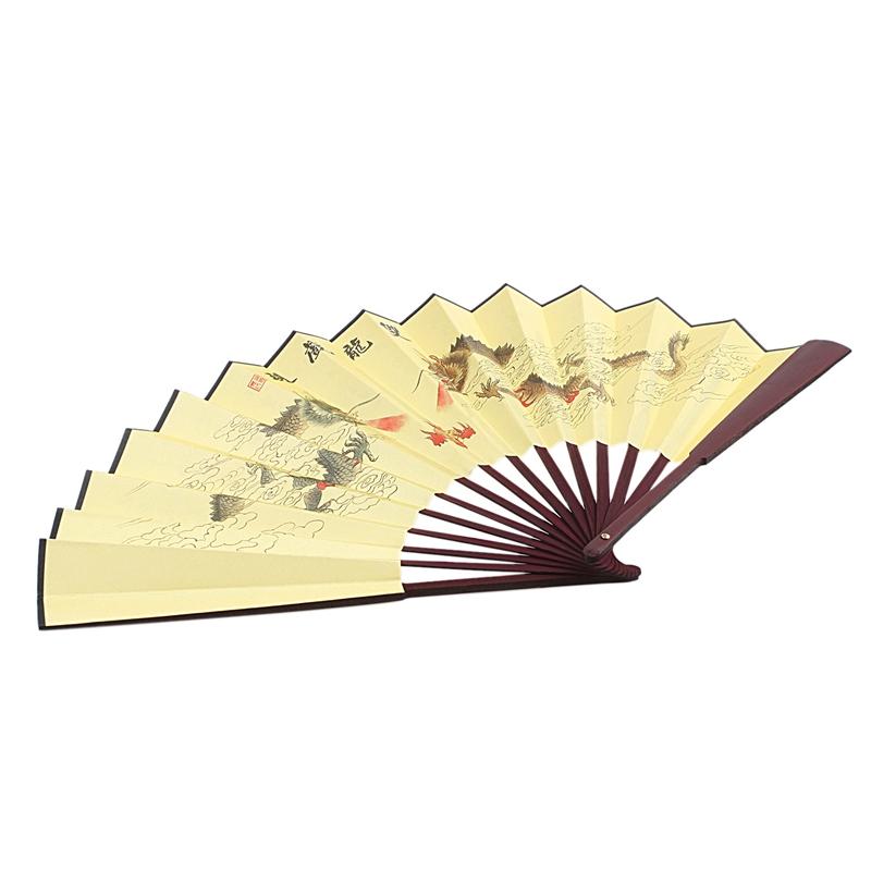 Détails Sur Dragon Poeme Peinture Orientale En Bois De Rose Bambou Nervures Pliable Ven K7r5