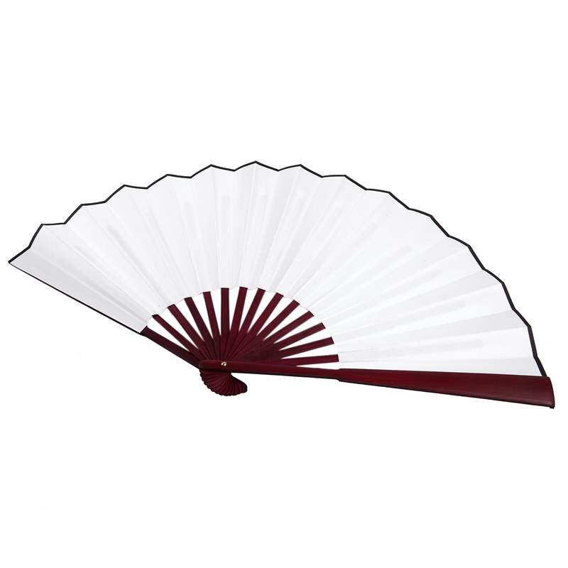 Men-Women-Wood-Handle-Fabric-Folding-Hand-Fan-13-inch-Length-Whtie-D7X4 thumbnail 2