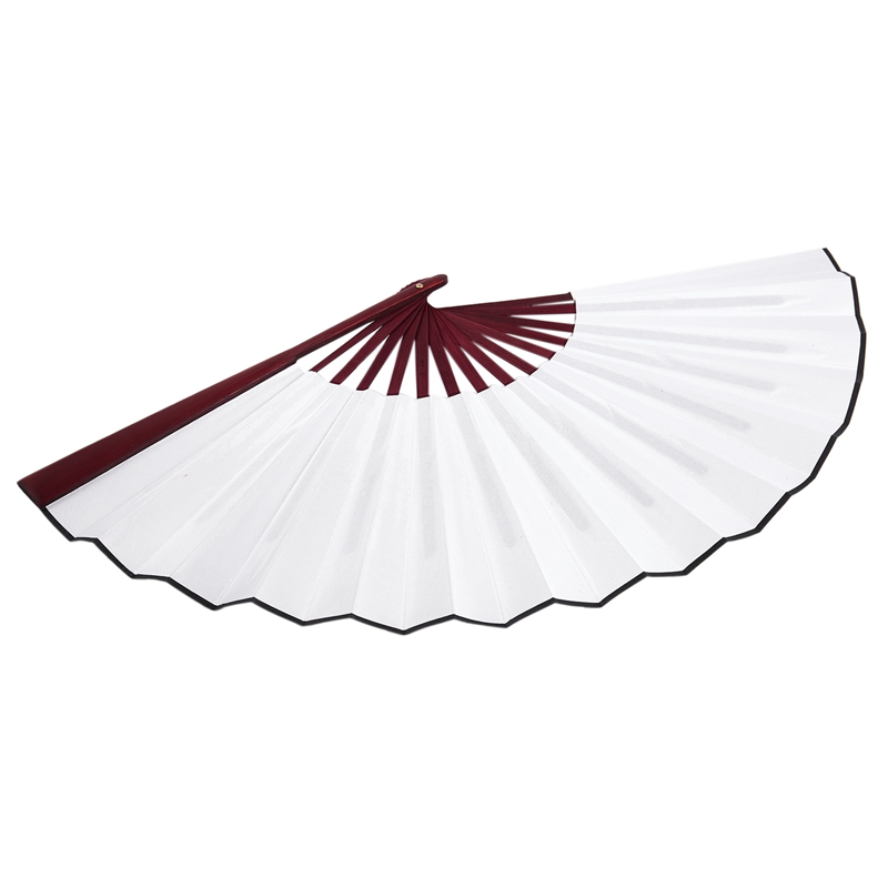 Men-Women-Wood-Handle-Fabric-Folding-Hand-Fan-13-inch-Length-Whtie-D7X4 thumbnail 6