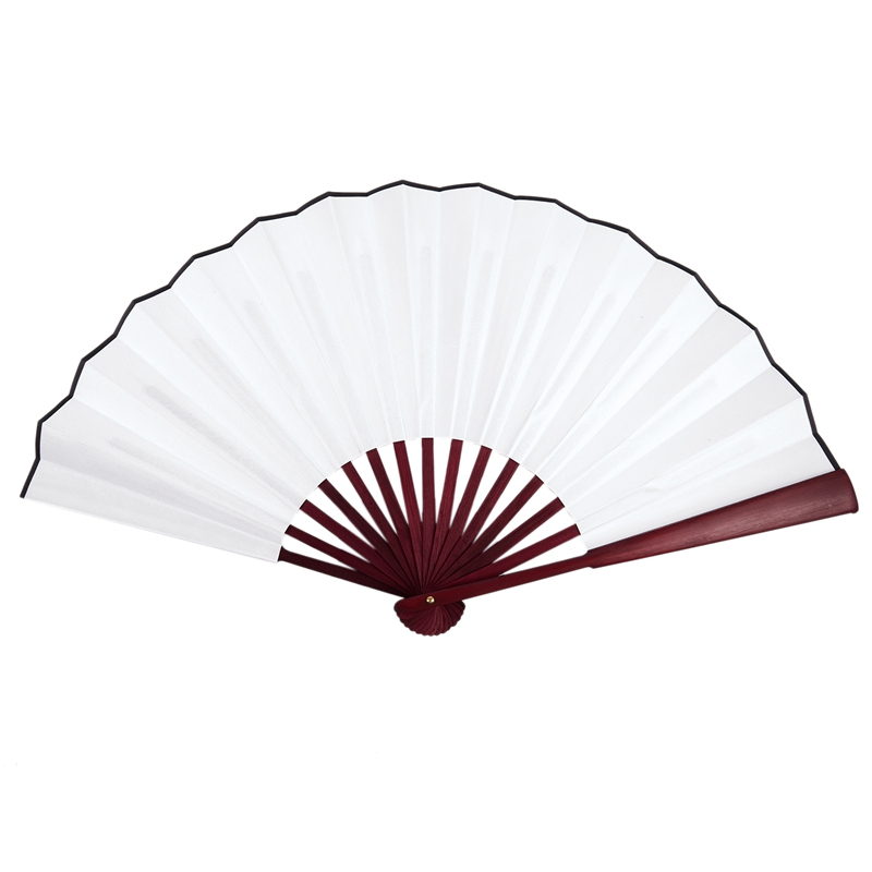 Men-Women-Wood-Handle-Fabric-Folding-Hand-Fan-13-inch-Length-Whtie-D7X4
