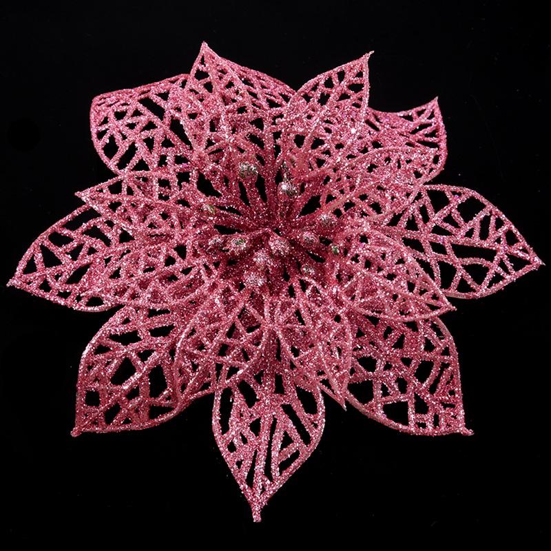miniature 3 - Decoration-pour-Sapin-de-Noel-elegant-13cm-Fleurs-de-Paillettes-Suspendue-P5U5