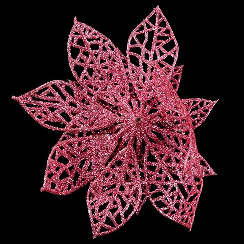 miniature 4 - Decoration-pour-Sapin-de-Noel-elegant-13cm-Fleurs-de-Paillettes-Suspendue-P5U5