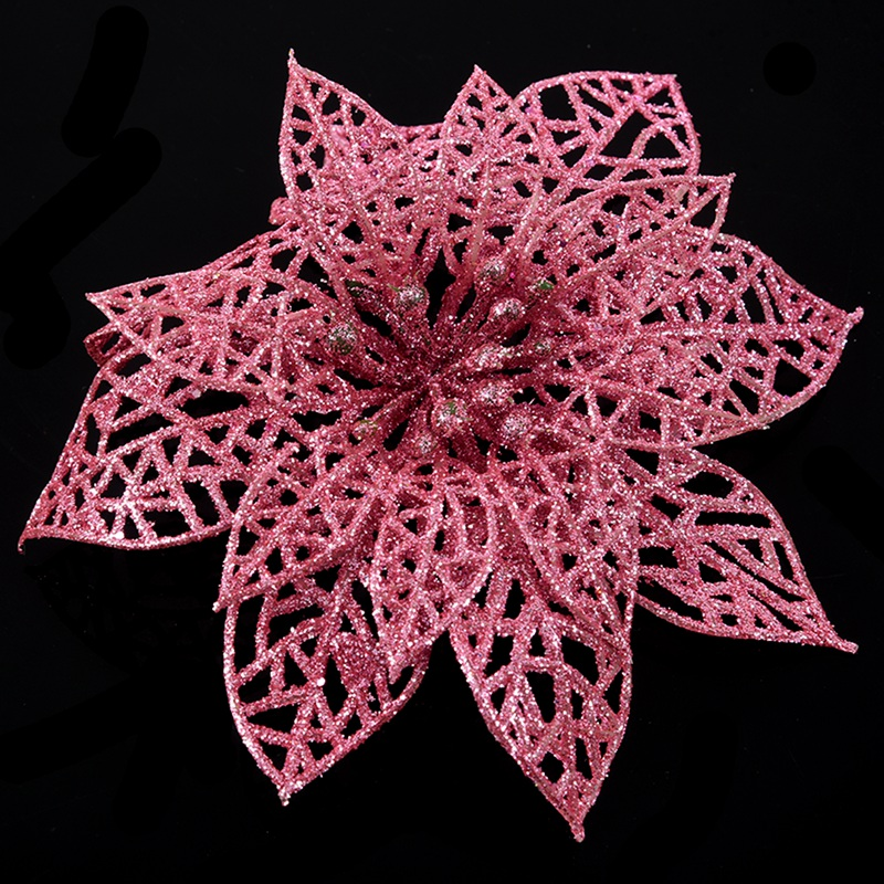 miniature 5 - Decoration-pour-Sapin-de-Noel-elegant-13cm-Fleurs-de-Paillettes-Suspendue-P5U5