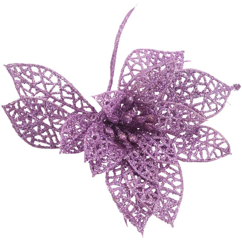 miniature 19 - Decoration-pour-Sapin-de-Noel-elegant-13cm-Fleurs-de-Paillettes-Suspendue-P5U5