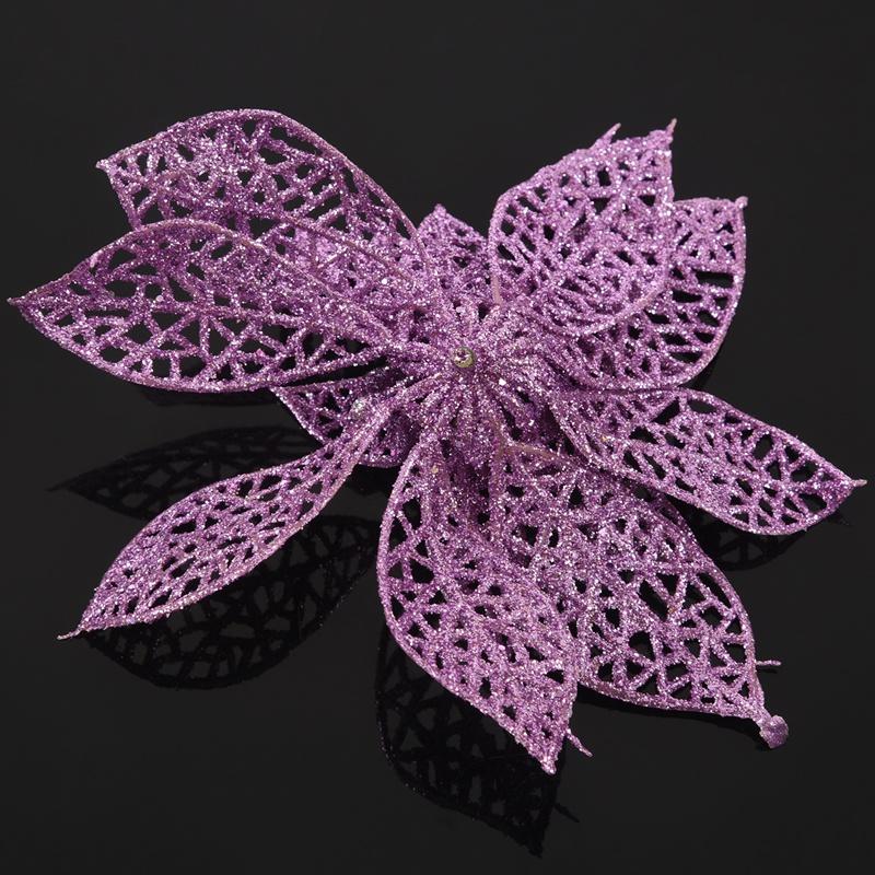 miniature 21 - Decoration-pour-Sapin-de-Noel-elegant-13cm-Fleurs-de-Paillettes-Suspendue-P5U5