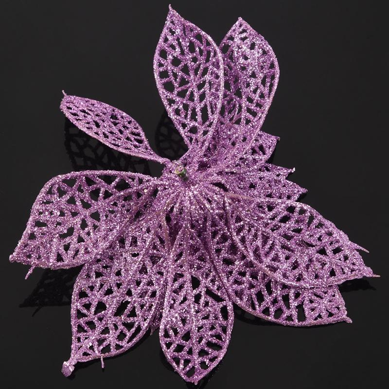 miniature 22 - Decoration-pour-Sapin-de-Noel-elegant-13cm-Fleurs-de-Paillettes-Suspendue-P5U5