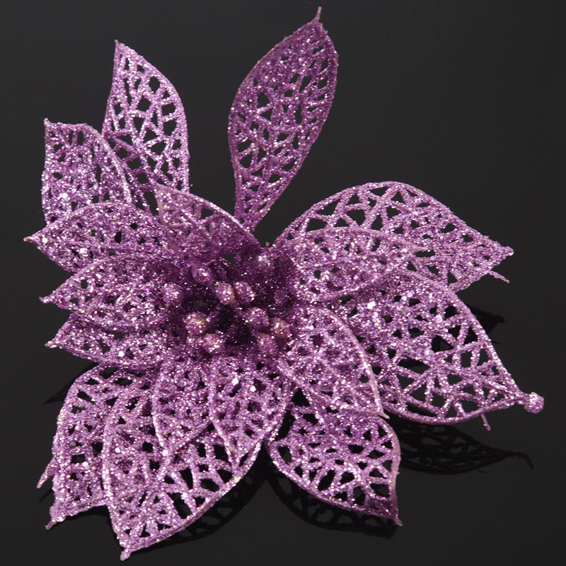 miniature 23 - Decoration-pour-Sapin-de-Noel-elegant-13cm-Fleurs-de-Paillettes-Suspendue-P5U5