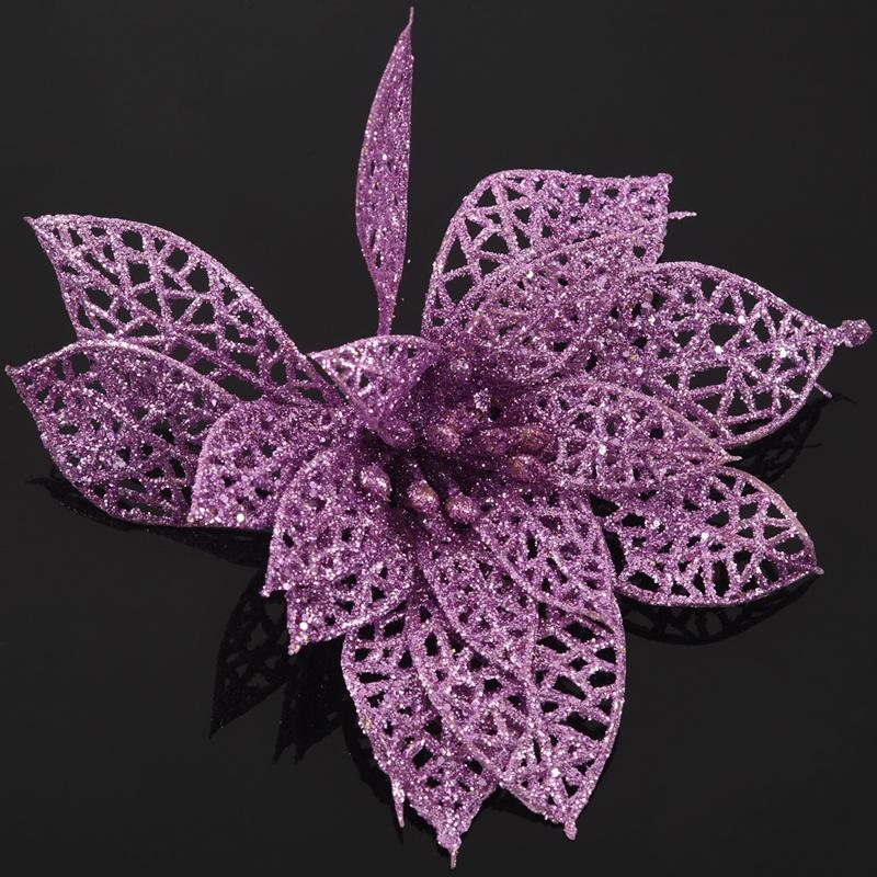 miniature 24 - Decoration-pour-Sapin-de-Noel-elegant-13cm-Fleurs-de-Paillettes-Suspendue-P5U5
