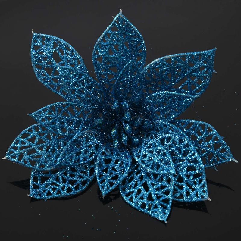 miniature 32 - Decoration-pour-Sapin-de-Noel-elegant-13cm-Fleurs-de-Paillettes-Suspendue-P5U5