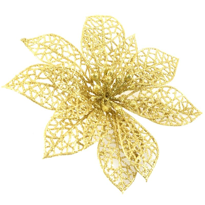 miniature 35 - Decoration-pour-Sapin-de-Noel-elegant-13cm-Fleurs-de-Paillettes-Suspendue-P5U5