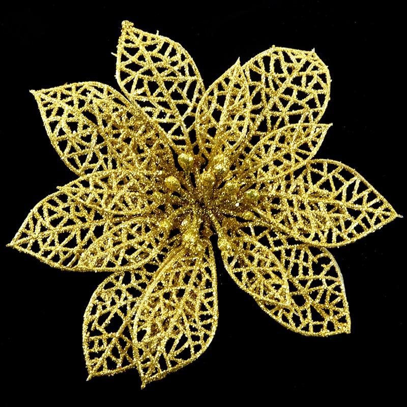 miniature 38 - Decoration-pour-Sapin-de-Noel-elegant-13cm-Fleurs-de-Paillettes-Suspendue-P5U5