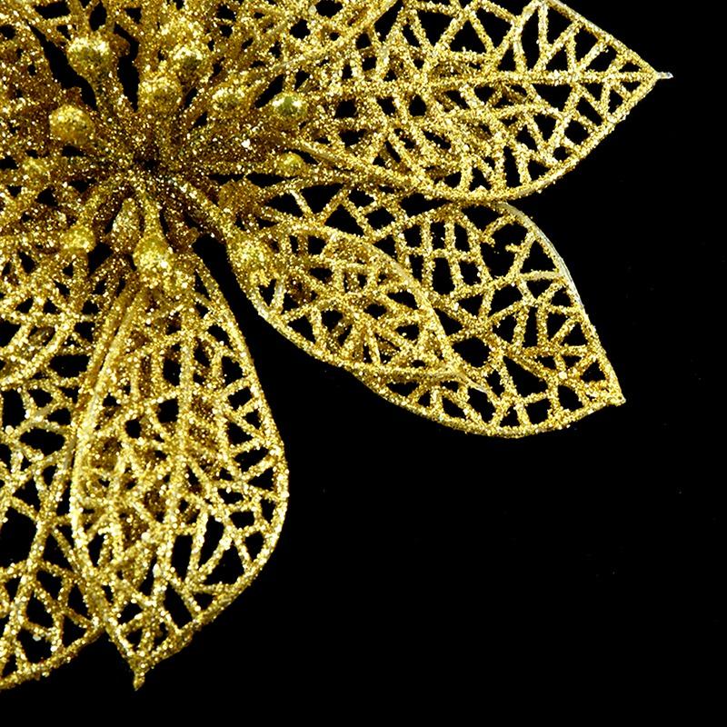 miniature 39 - Decoration-pour-Sapin-de-Noel-elegant-13cm-Fleurs-de-Paillettes-Suspendue-P5U5