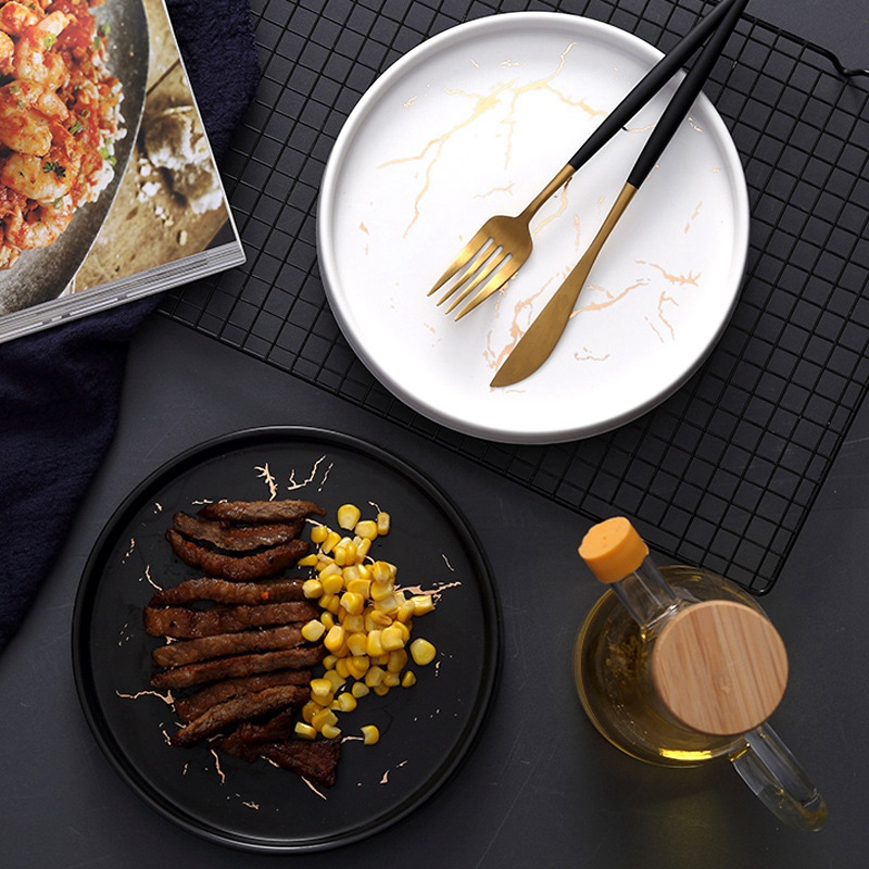 20Cm-Gold-Marble-Ceramic-Dish-Porcelain-Cutlery-Set-Kitchen-Table-European-X6M8 thumbnail 6