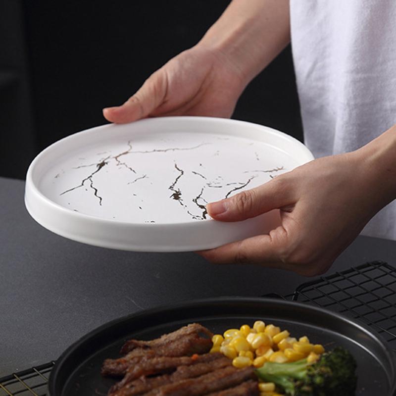 20Cm-Gold-Marble-Ceramic-Dish-Porcelain-Cutlery-Set-Kitchen-Table-European-X6M8 thumbnail 8