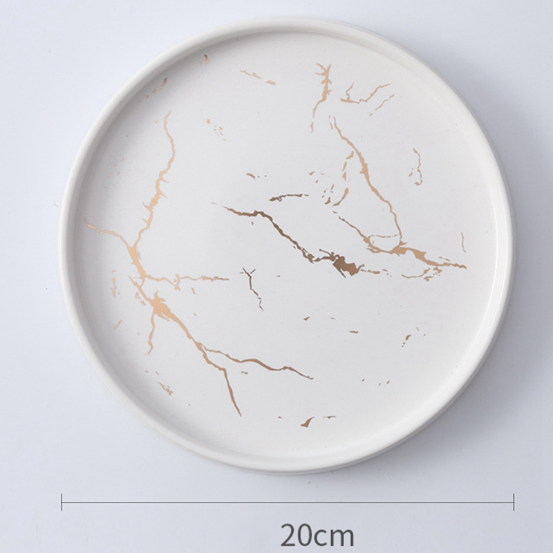 20Cm-Gold-Marble-Ceramic-Dish-Porcelain-Cutlery-Set-Kitchen-Table-European-X6M8 thumbnail 10
