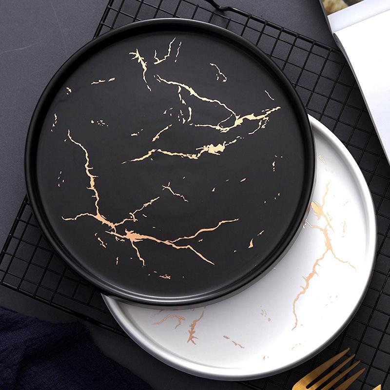 20Cm-Gold-Marble-Ceramic-Dish-Porcelain-Cutlery-Set-Kitchen-Table-European-X6M8 thumbnail 11