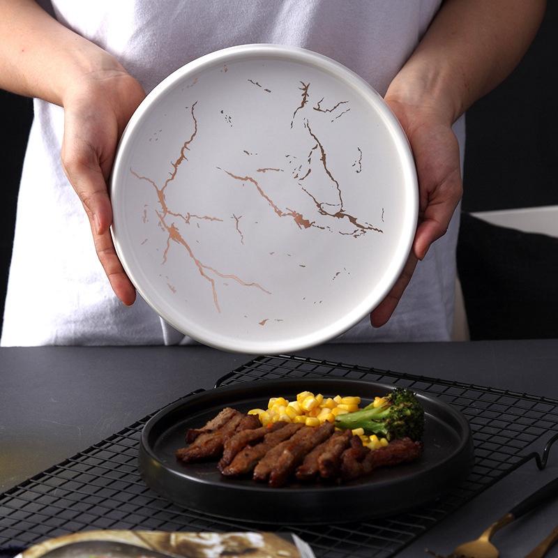 20Cm-Gold-Marble-Ceramic-Dish-Porcelain-Cutlery-Set-Kitchen-Table-European-X6M8 thumbnail 14
