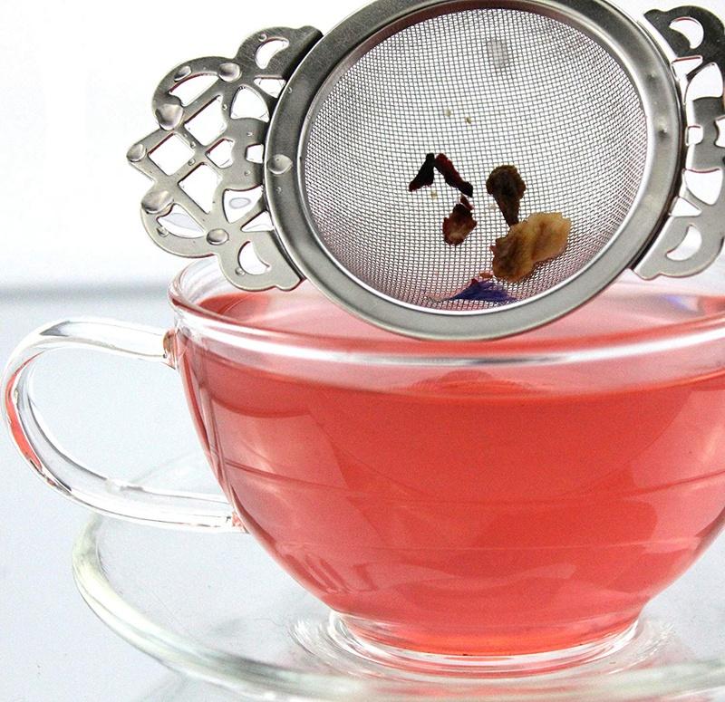 Acier inoxydable maille fine passoire à thé Filtre impératrice Infuseur Avec Plateau D/'égouttement