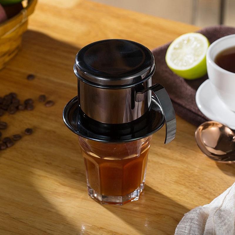 Portable-Coffee-Maker-Stainless-Steel-Mini-Maker-Drip-Coffee-Pot-Filter-Tea-E4R9 thumbnail 4