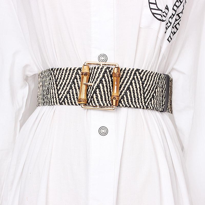 ReTro-Tricote-Cire-Corde-Tail-le-Corde-Femmes-Bambou-Bouc-le-Ceinture-Dames-J2B3 miniature 8