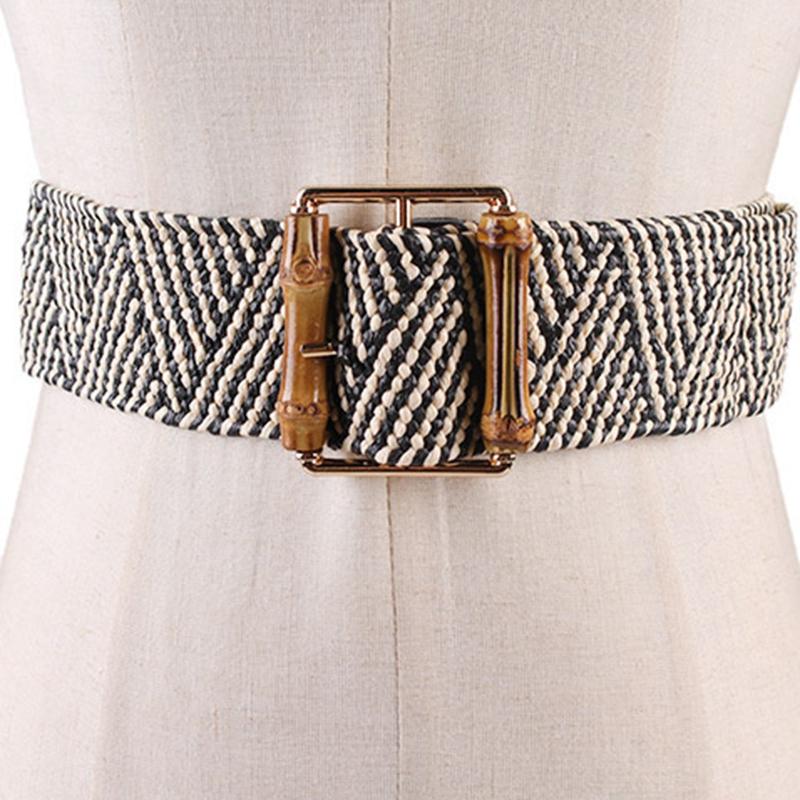 ReTro-Tricote-Cire-Corde-Tail-le-Corde-Femmes-Bambou-Bouc-le-Ceinture-Dames-J2B3 miniature 14