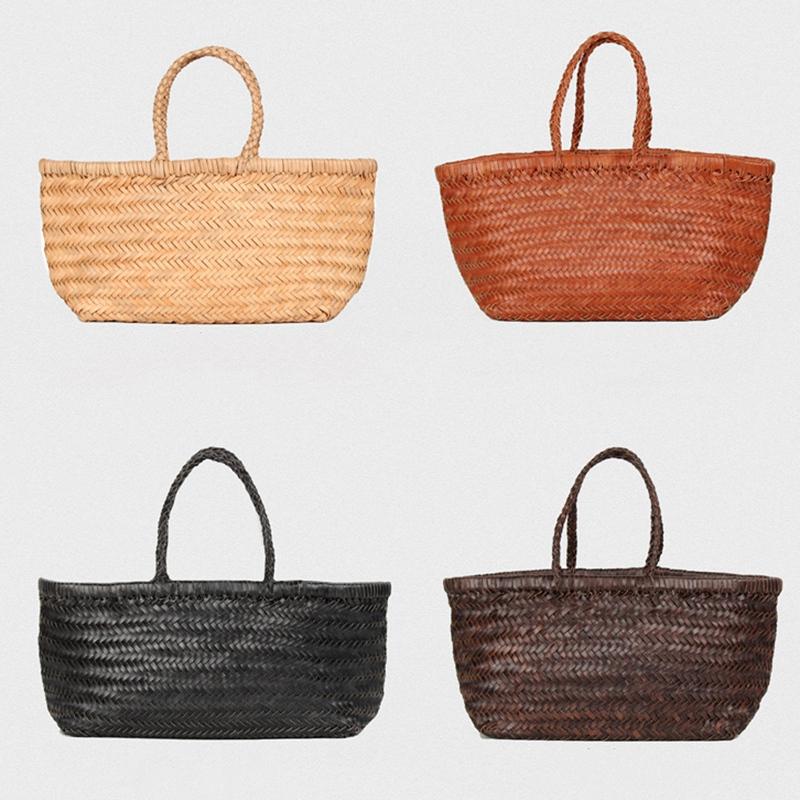 Women-039-S-Genuine-Leather-Woven-Shoulder-Bag-Cool-Weaving-Bucket-Handbags-Fre-O1Q5 thumbnail 4