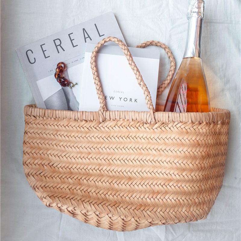 Women-039-S-Genuine-Leather-Woven-Shoulder-Bag-Cool-Weaving-Bucket-Handbags-Fre-O1Q5 thumbnail 5