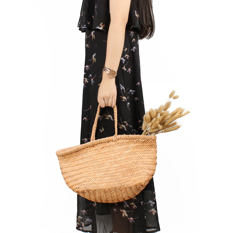 Women-039-S-Genuine-Leather-Woven-Shoulder-Bag-Cool-Weaving-Bucket-Handbags-Fre-O1Q5 thumbnail 7