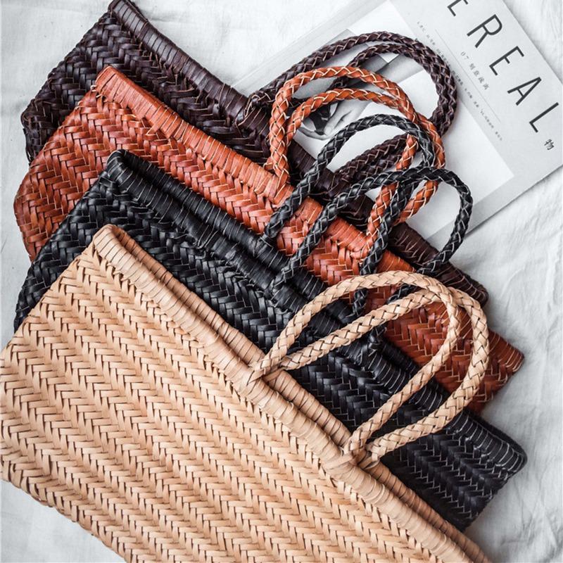 Women-039-S-Genuine-Leather-Woven-Shoulder-Bag-Cool-Weaving-Bucket-Handbags-Fre-O1Q5 thumbnail 14