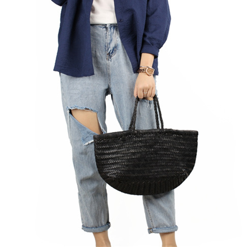 Women-039-S-Genuine-Leather-Woven-Shoulder-Bag-Cool-Weaving-Bucket-Handbags-Fre-O1Q5 thumbnail 17