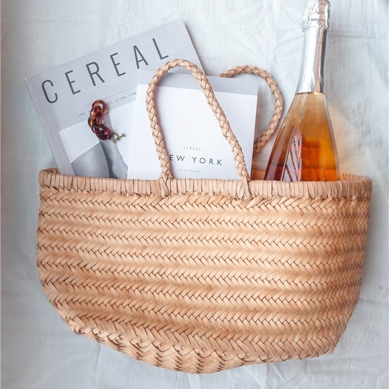 Women-039-S-Genuine-Leather-Woven-Shoulder-Bag-Cool-Weaving-Bucket-Handbags-Fre-O1Q5 thumbnail 29