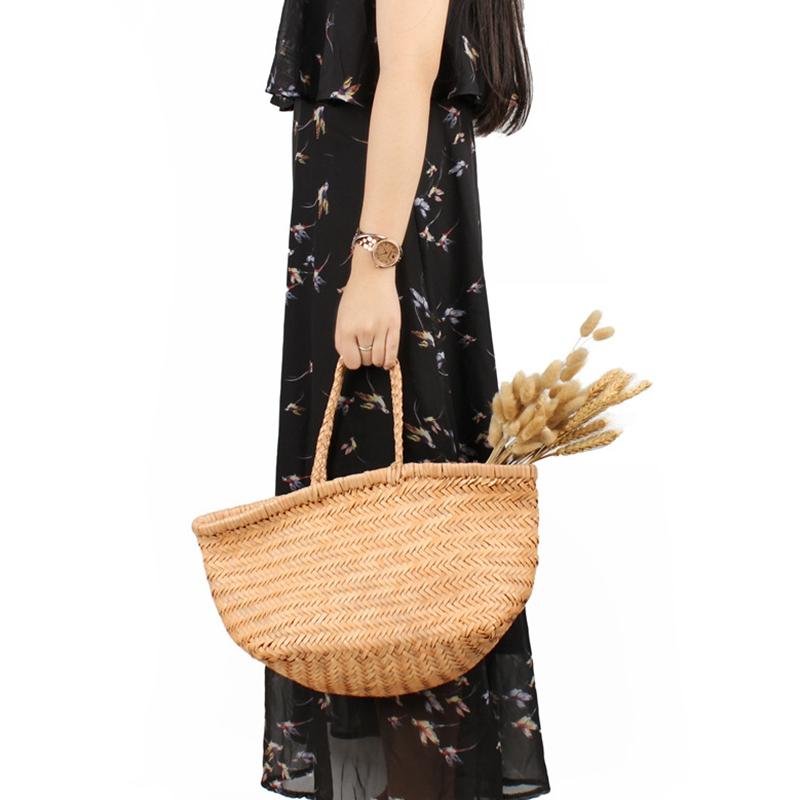 Women-039-S-Genuine-Leather-Woven-Shoulder-Bag-Cool-Weaving-Bucket-Handbags-Fre-O1Q5 thumbnail 31
